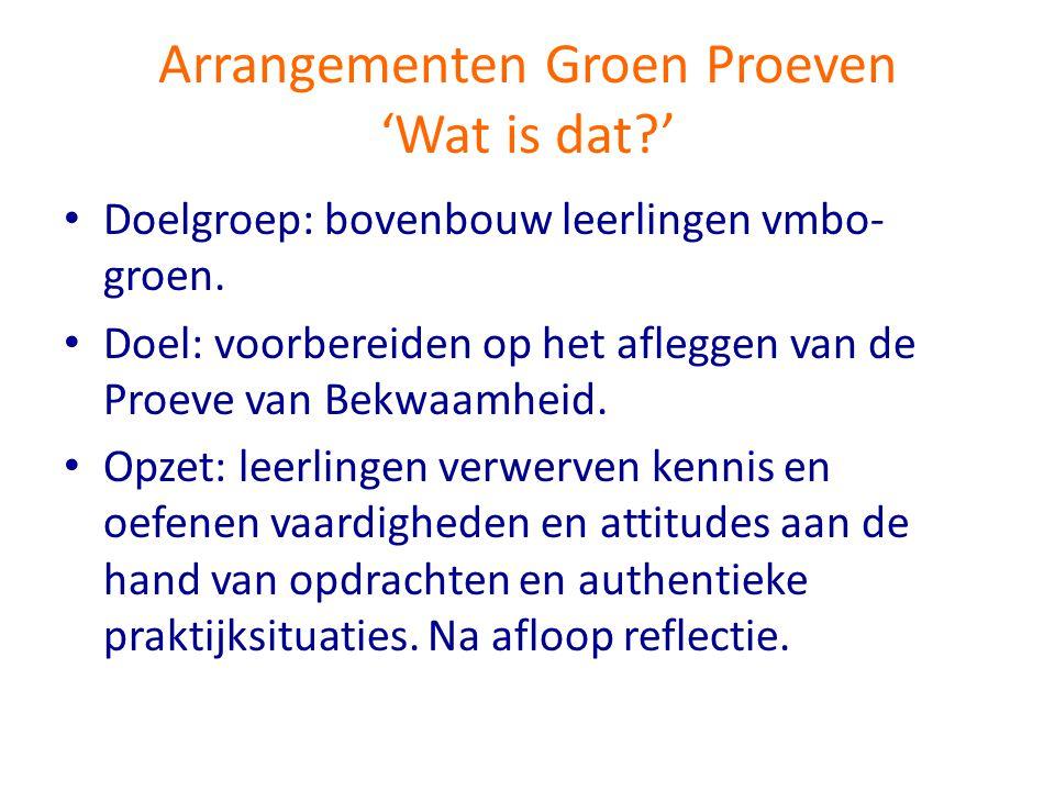 Arrangementen Groen Proeven 'Wat is dat '