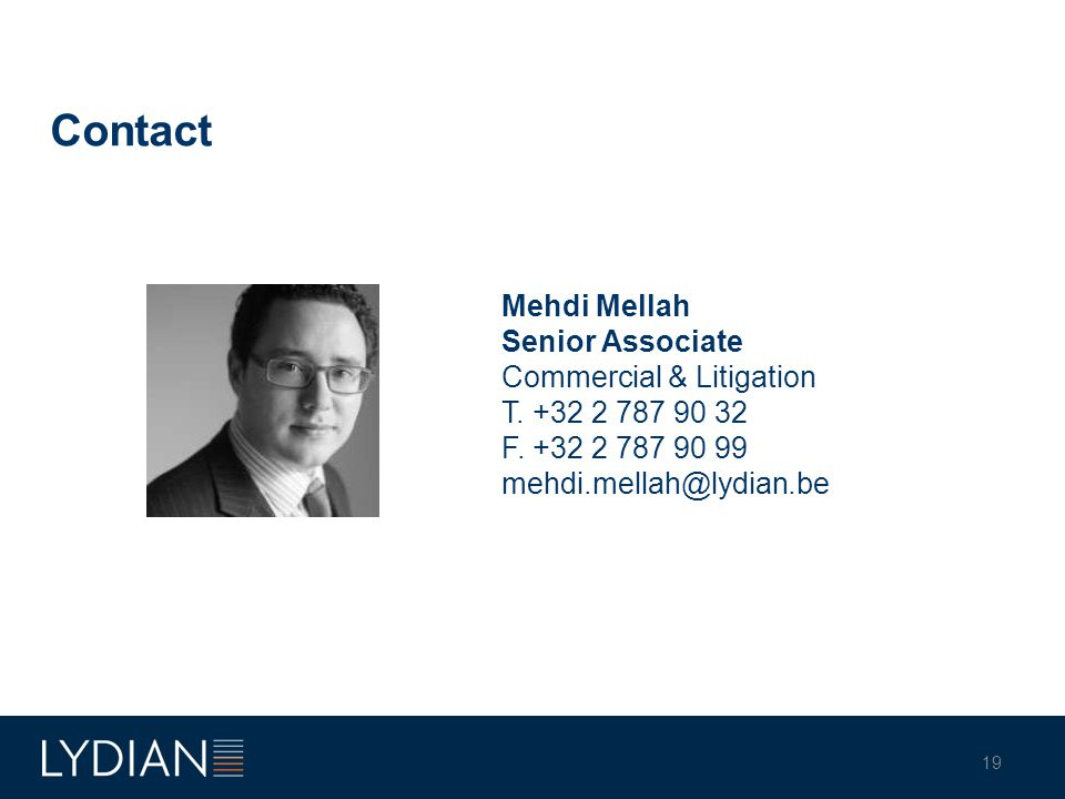 Contact Mehdi Mellah Senior Associate Commercial & Litigation