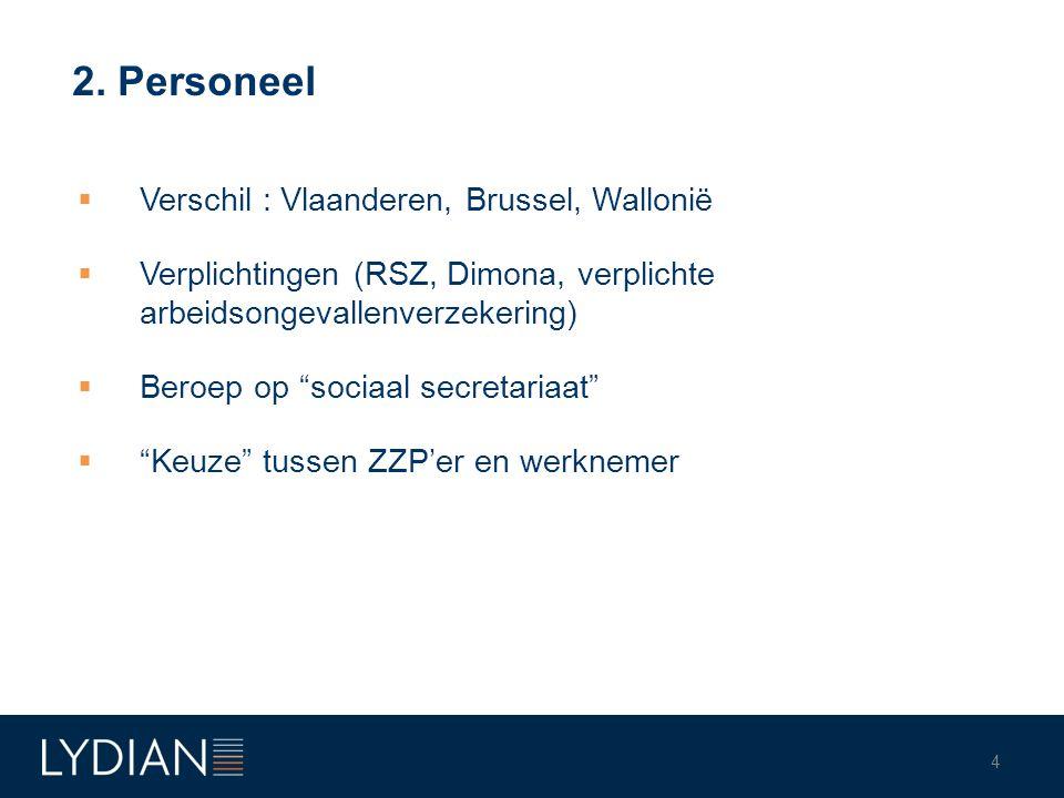 2. Personeel Verschil : Vlaanderen, Brussel, Wallonië