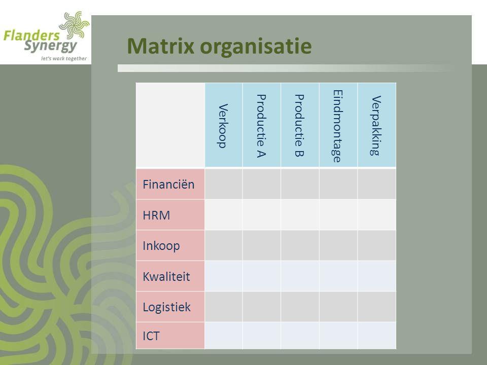 Matrix organisatie Verkoop Productie A Productie B Eindmontage