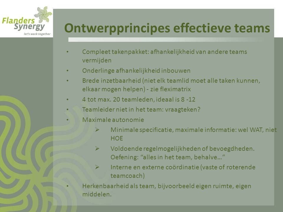 Ontwerpprincipes effectieve teams