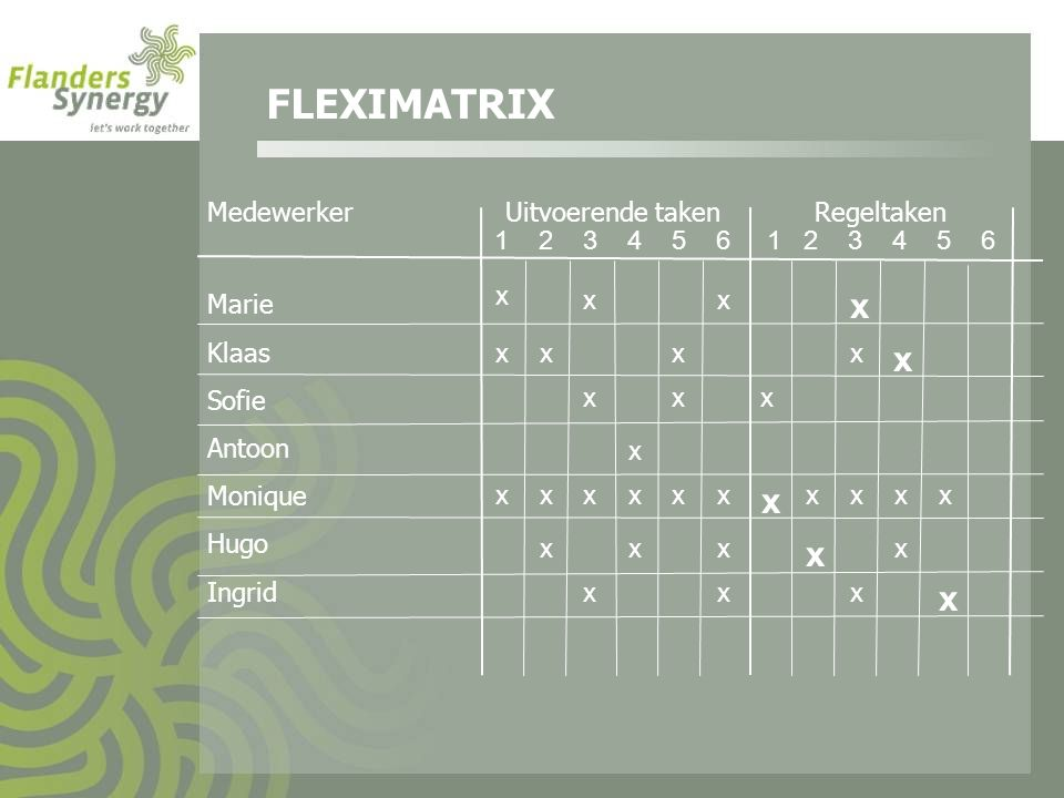 FLEXIMATRIX x x x x x Medewerker Uitvoerende taken Regeltaken