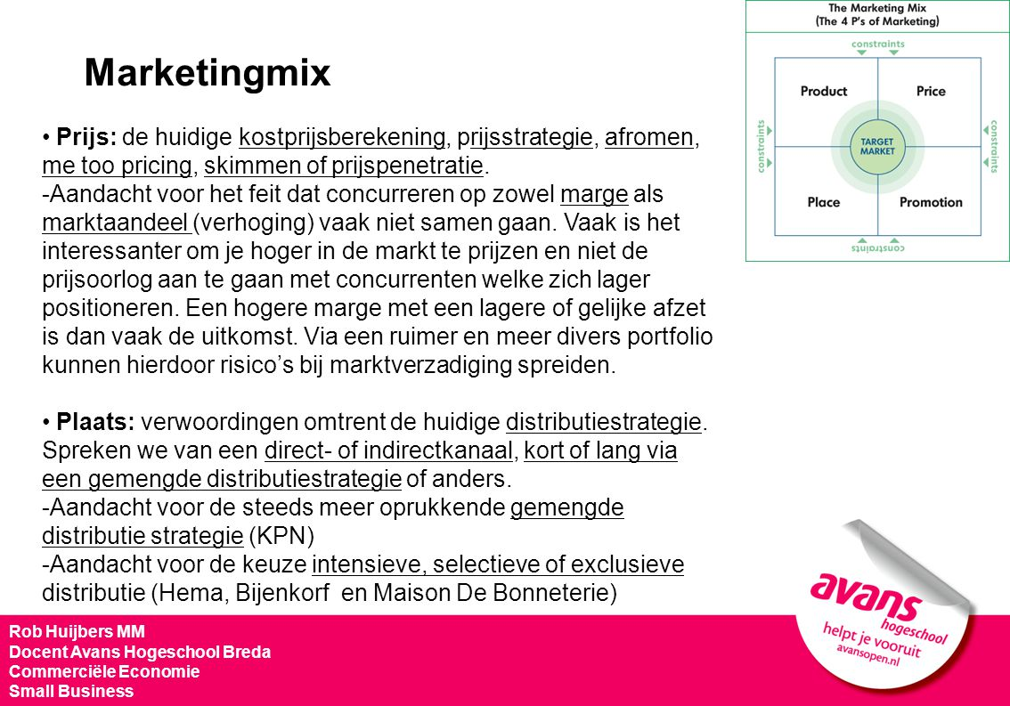 Marketingmix Prijs: de huidige kostprijsberekening, prijsstrategie, afromen, me too pricing, skimmen of prijspenetratie.