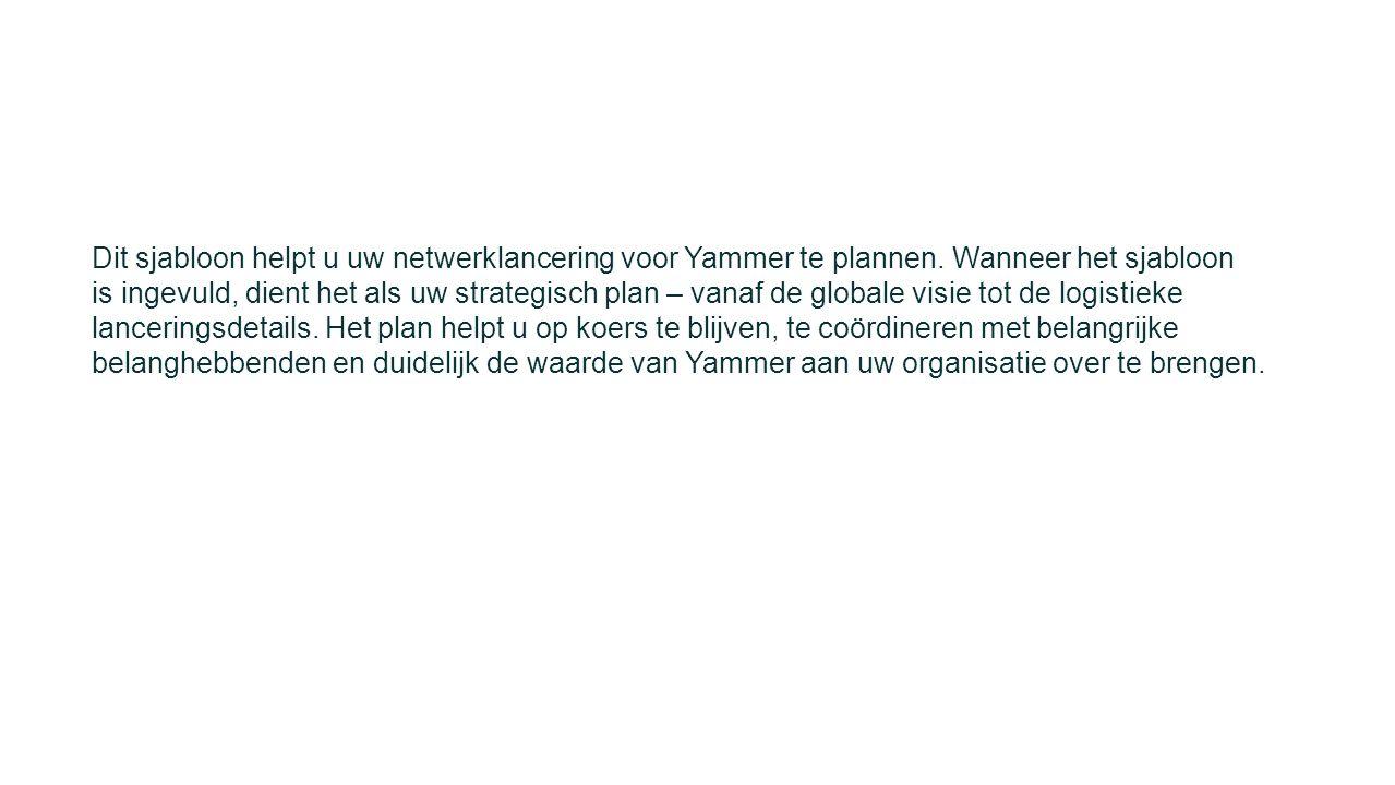 Dit sjabloon helpt u uw netwerklancering voor Yammer te plannen