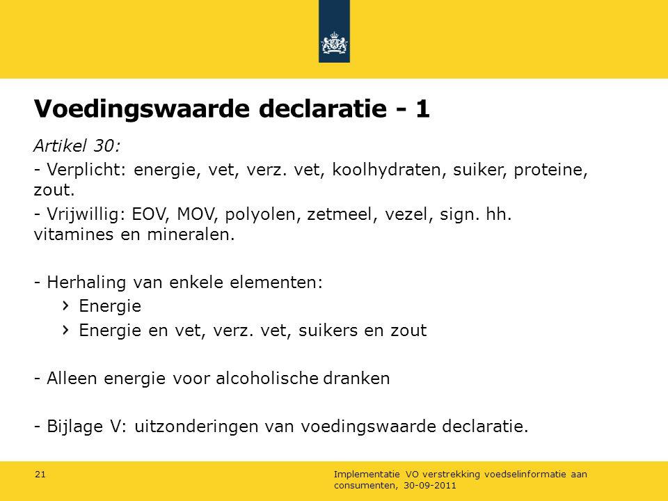 Voedingswaarde declaratie - 1