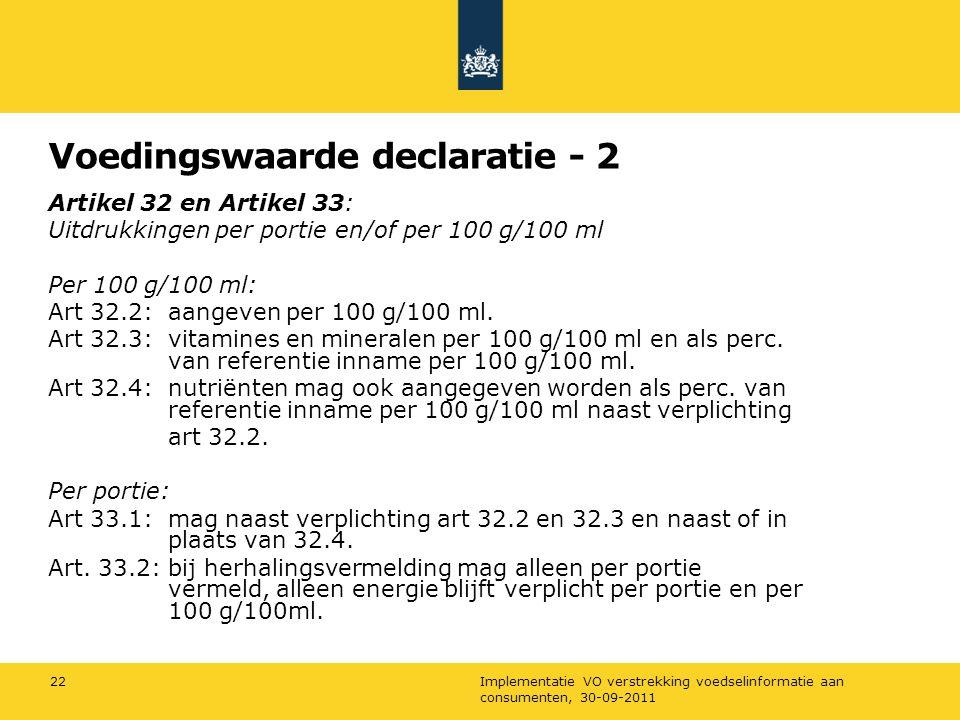 Voedingswaarde declaratie - 2
