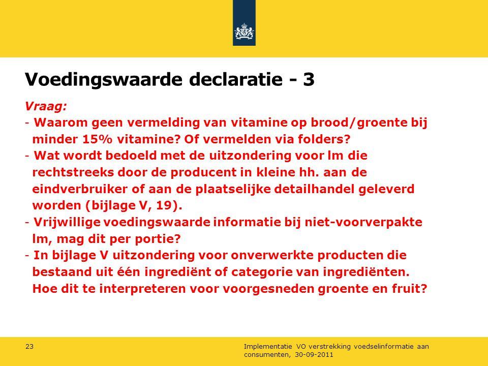 Voedingswaarde declaratie - 3