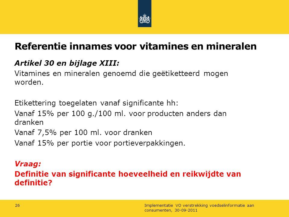 Referentie innames voor vitamines en mineralen