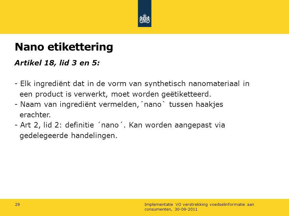 Nano etikettering Artikel 18, lid 3 en 5: