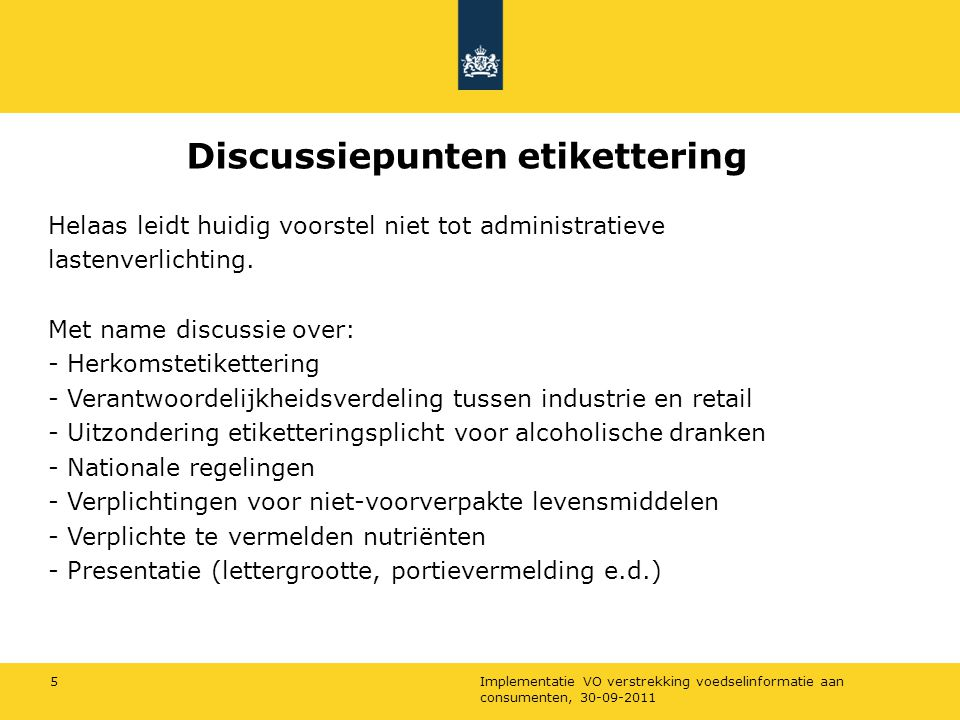 Discussiepunten etikettering
