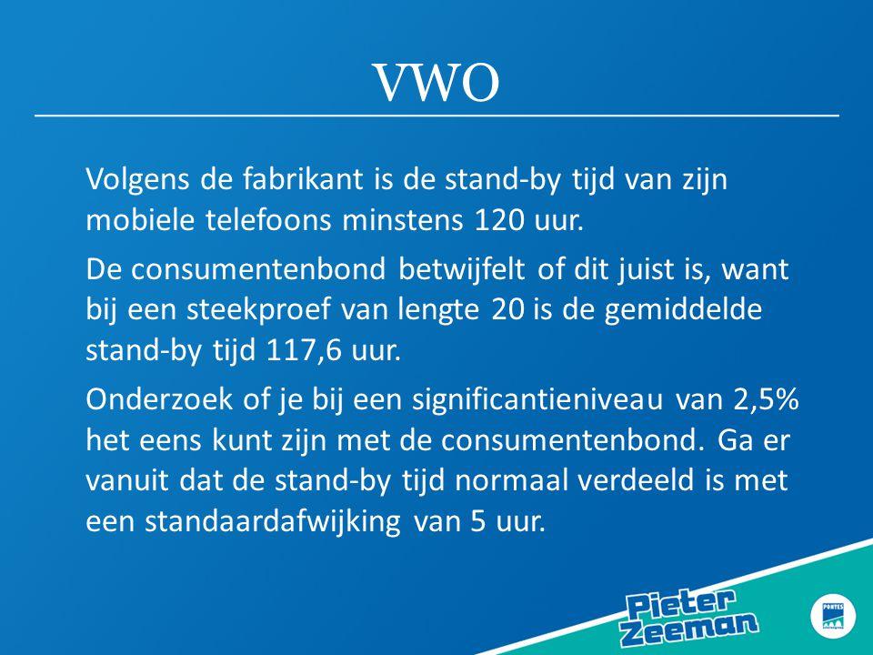 VWO Volgens de fabrikant is de stand-by tijd van zijn mobiele telefoons minstens 120 uur.