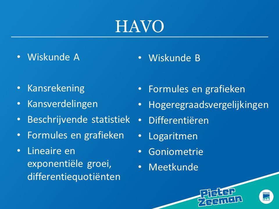 HAVO Wiskunde A Wiskunde B Kansrekening Formules en grafieken