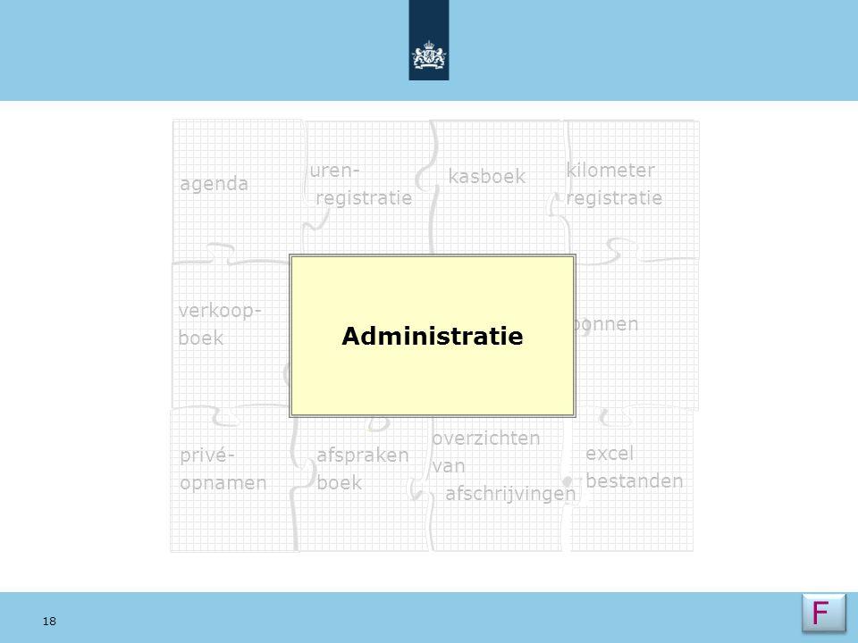 F Administratie Dia 5 verkoop- boek uren- registratie agenda kilometer