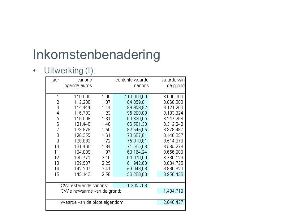 Inkomstenbenadering Uitwerking (I):