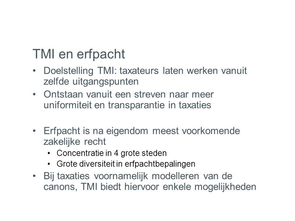 TMI en erfpacht Doelstelling TMI: taxateurs laten werken vanuit zelfde uitgangspunten.
