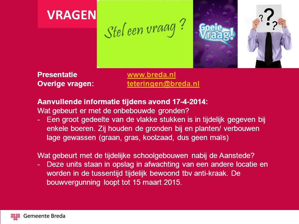 VRAGEN Presentatie www.breda.nl Overige vragen: teteringen@breda.nl