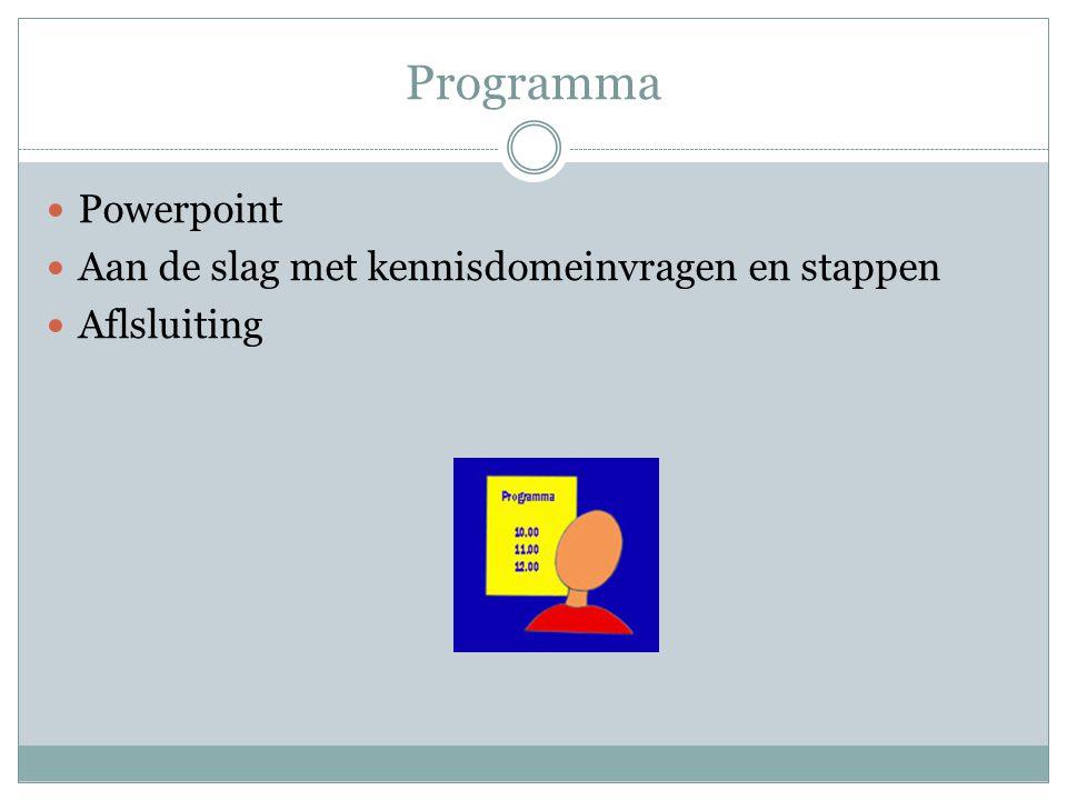 Programma Powerpoint Aan de slag met kennisdomeinvragen en stappen