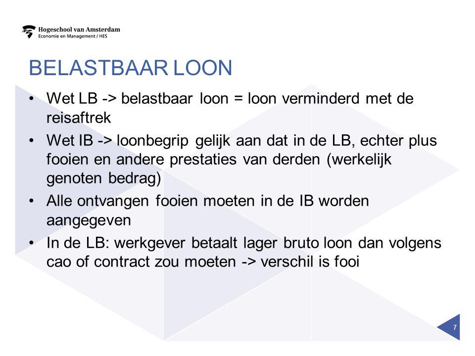 Belastbaar loon Wet LB -> belastbaar loon = loon verminderd met de reisaftrek.