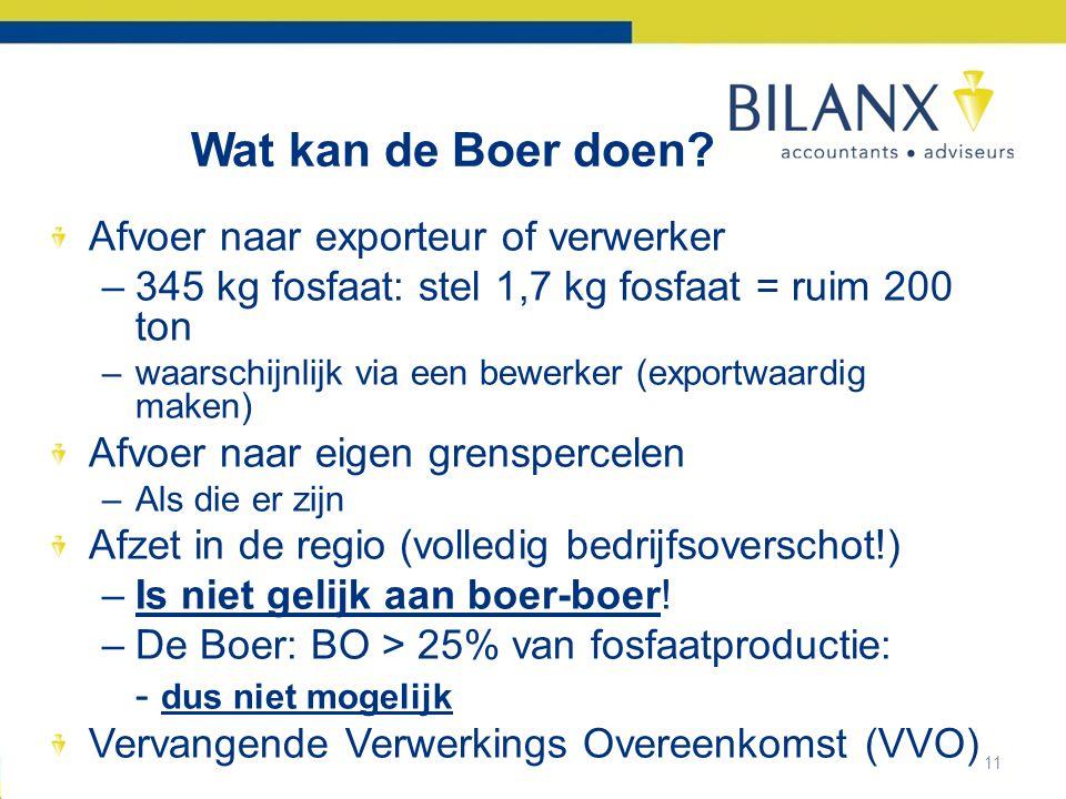 Wat kan de Boer doen Afvoer naar exporteur of verwerker