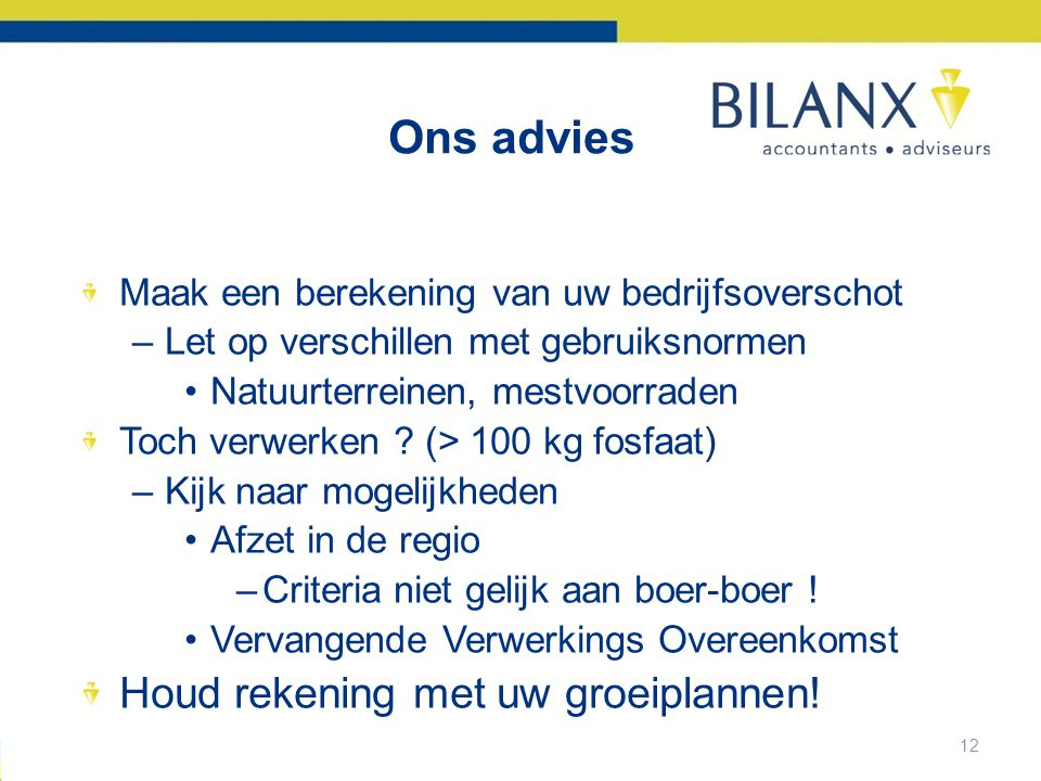 Ons advies Houd rekening met uw groeiplannen!