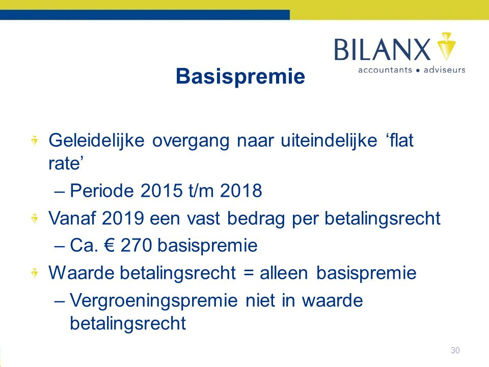 Basispremie Geleidelijke overgang naar uiteindelijke 'flat rate'