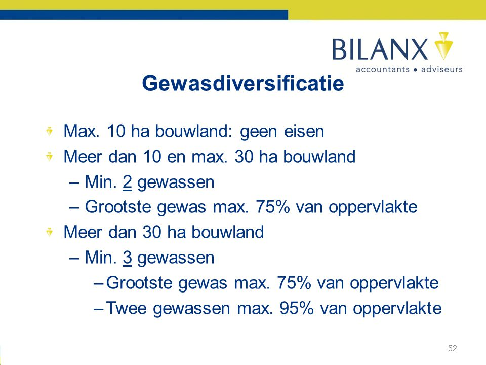 Gewasdiversificatie Max. 10 ha bouwland: geen eisen