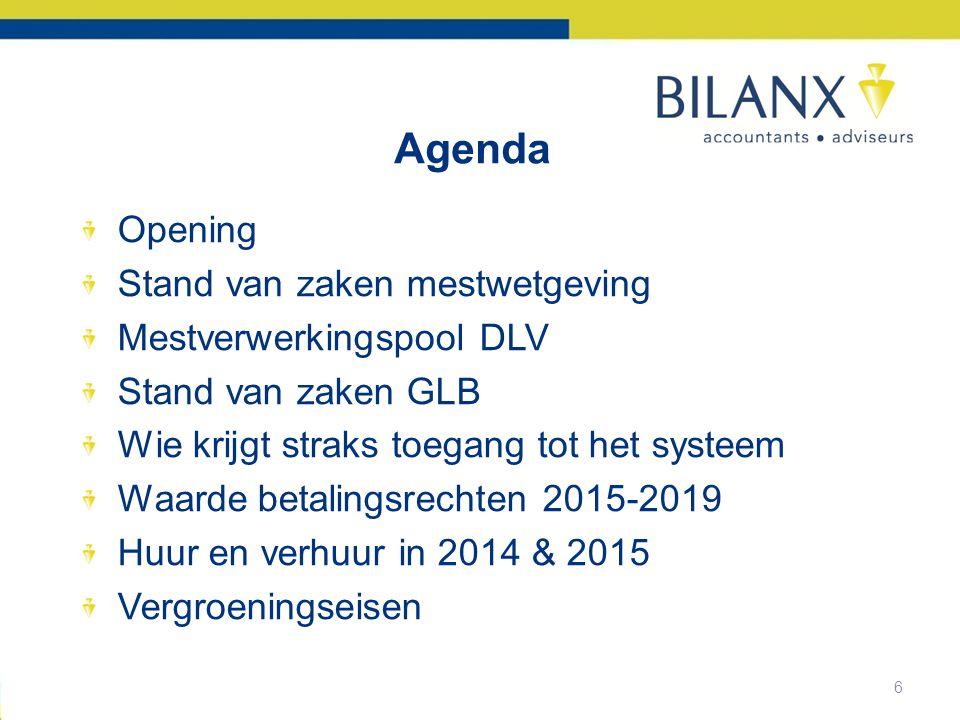 Agenda Opening Stand van zaken mestwetgeving Mestverwerkingspool DLV