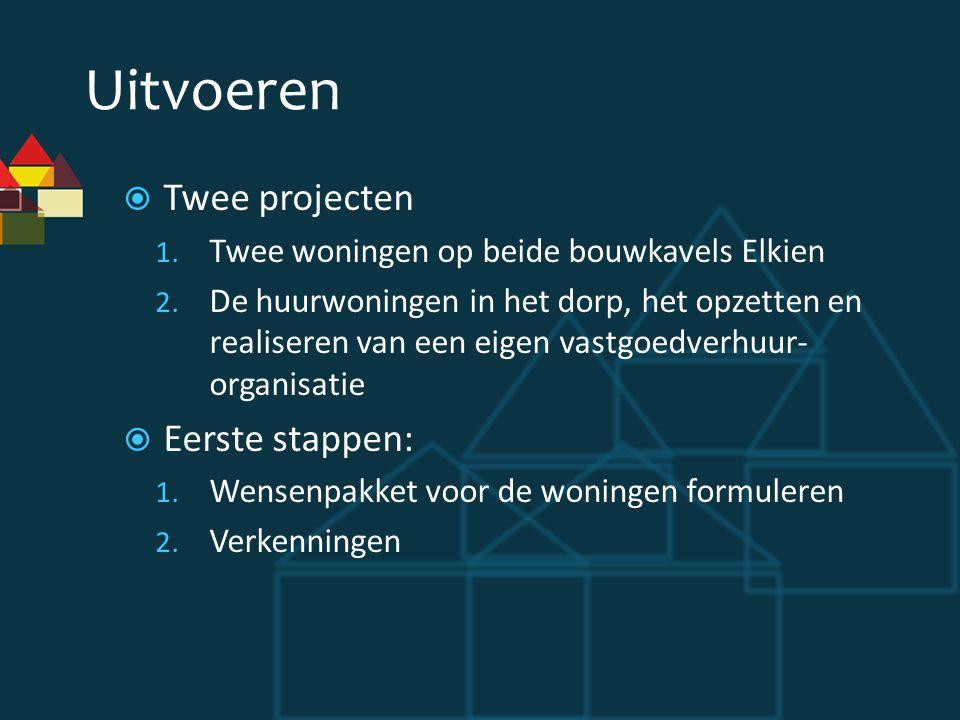 Uitvoeren Twee projecten Eerste stappen: