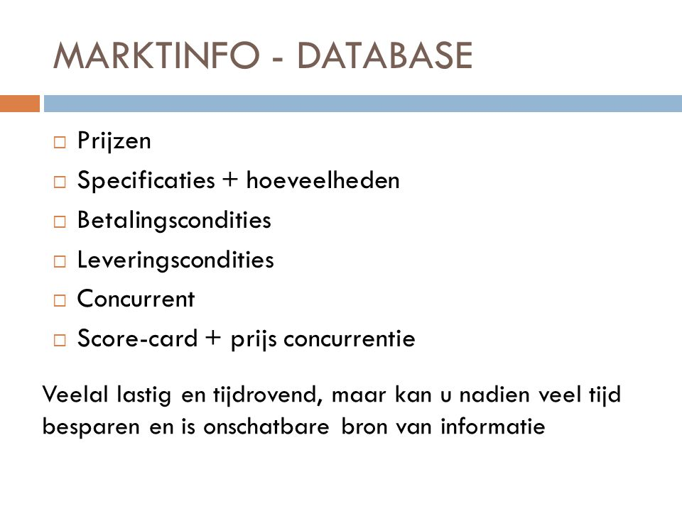 MARKTINFO - DATABASE Prijzen Specificaties + hoeveelheden