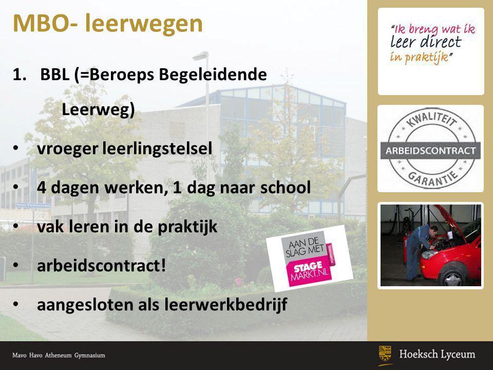 MBO- leerwegen BBL (=Beroeps Begeleidende Leerweg)