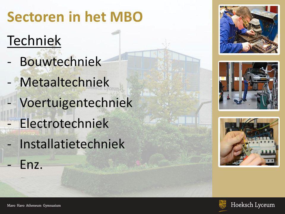 Sectoren in het MBO Techniek Bouwtechniek Metaaltechniek