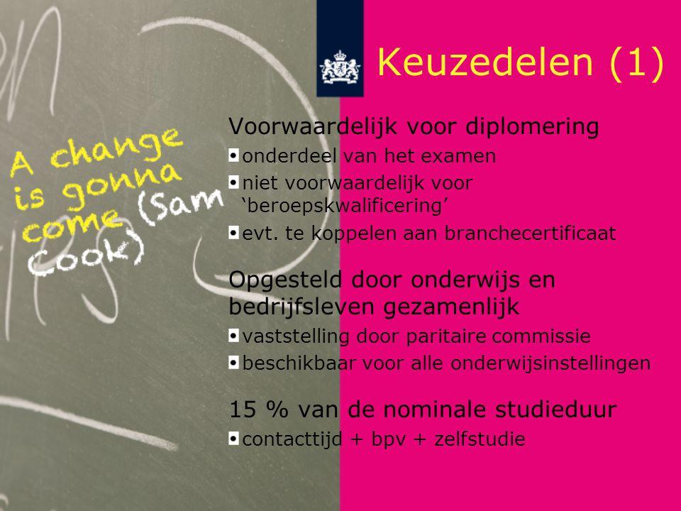 Keuzedelen (1) Voorwaardelijk voor diplomering