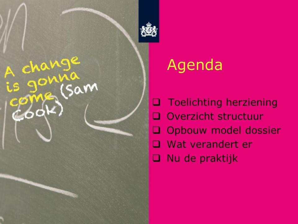 Agenda Toelichting herziening Overzicht structuur Opbouw model dossier