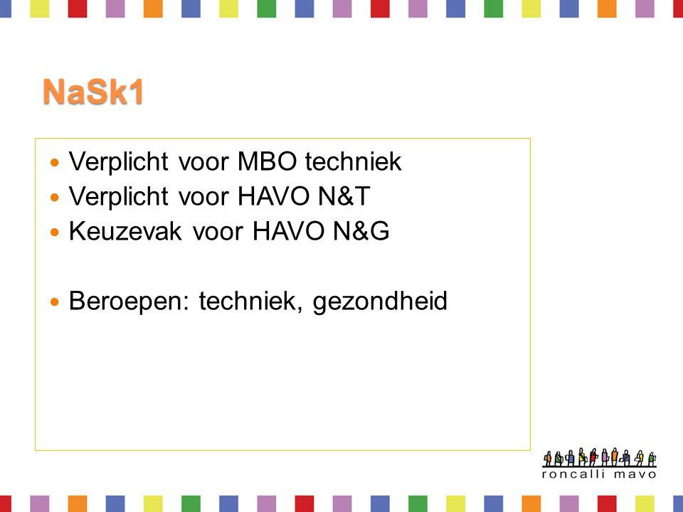 NaSk1 Verplicht voor MBO techniek Verplicht voor HAVO N&T