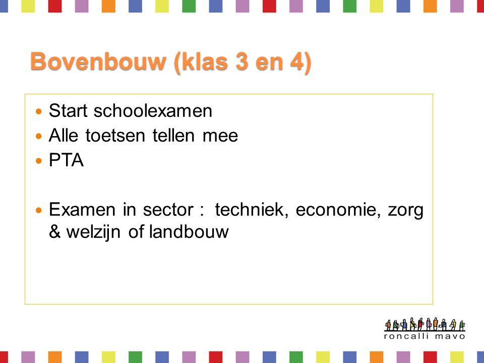 Bovenbouw (klas 3 en 4) Start schoolexamen Alle toetsen tellen mee PTA