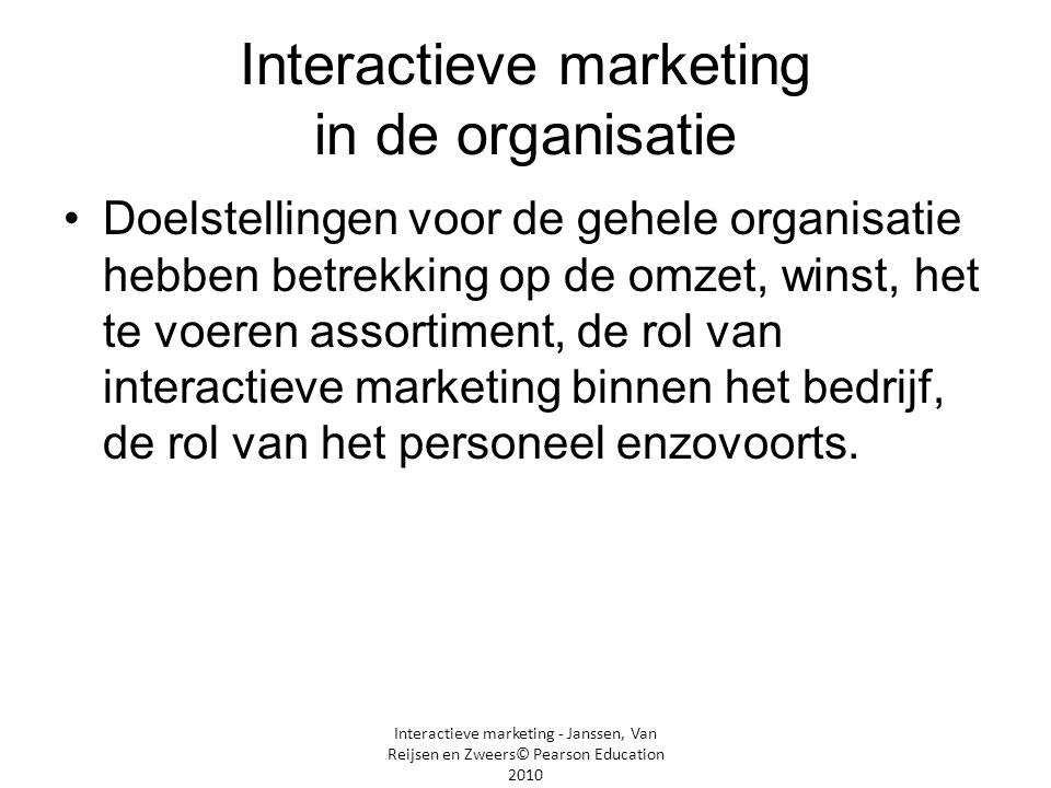 Interactieve marketing in de organisatie