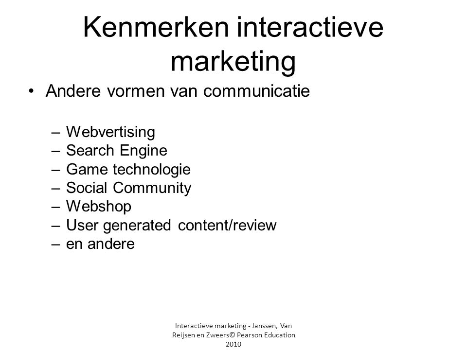 Kenmerken interactieve marketing