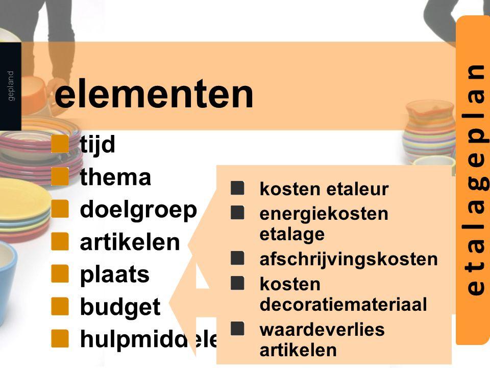 elementen e t a l a g e p l a n tijd thema doelgroep artikelen plaats