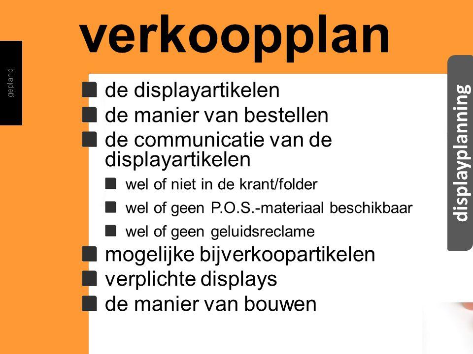 verkoopplan displayplanning de displayartikelen