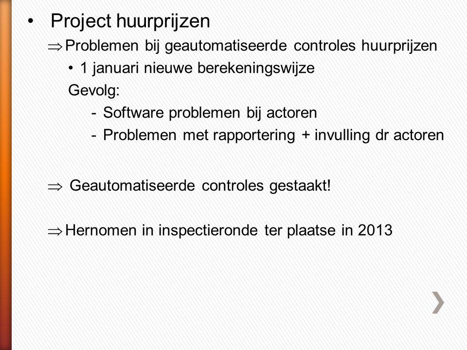 Project huurprijzen Problemen bij geautomatiseerde controles huurprijzen. 1 januari nieuwe berekeningswijze.