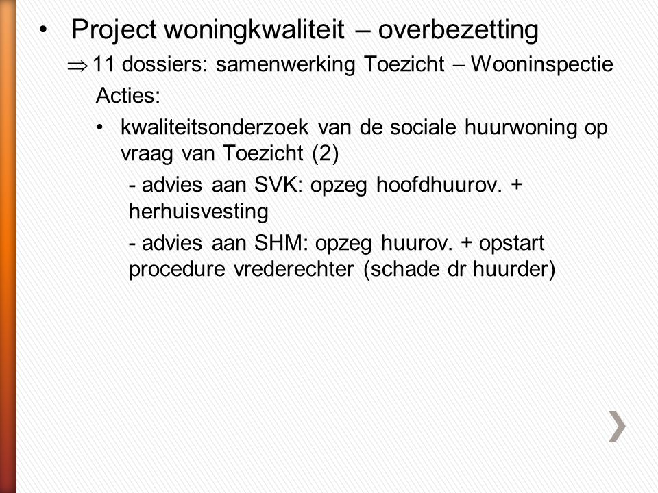 Project woningkwaliteit – overbezetting
