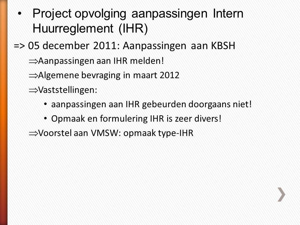 Project opvolging aanpassingen Intern Huurreglement (IHR)
