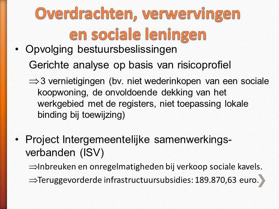 Overdrachten, verwervingen en sociale leningen