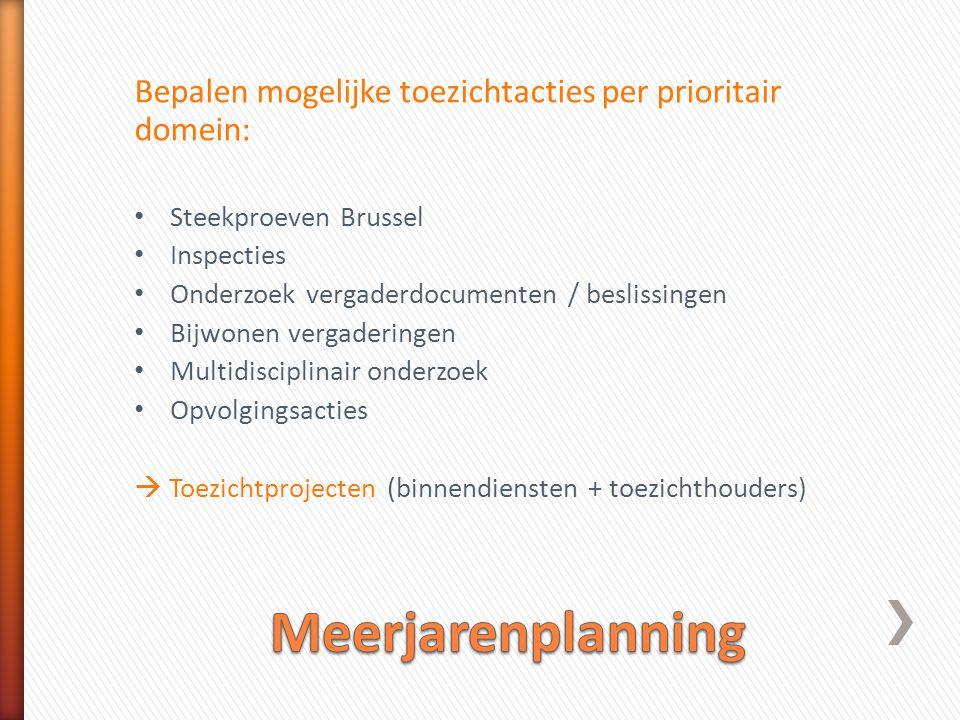 Bepalen mogelijke toezichtacties per prioritair domein: