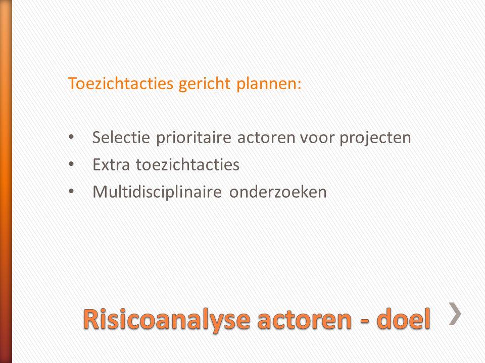 Risicoanalyse actoren - doel