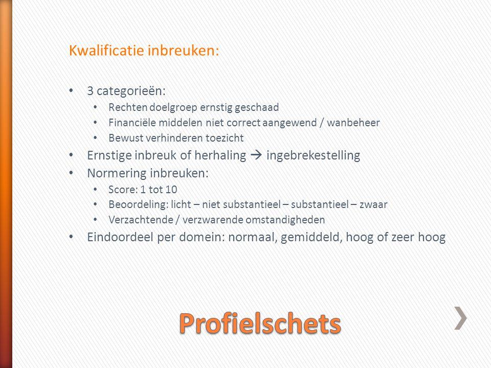 Profielschets Kwalificatie inbreuken: 3 categorieën: