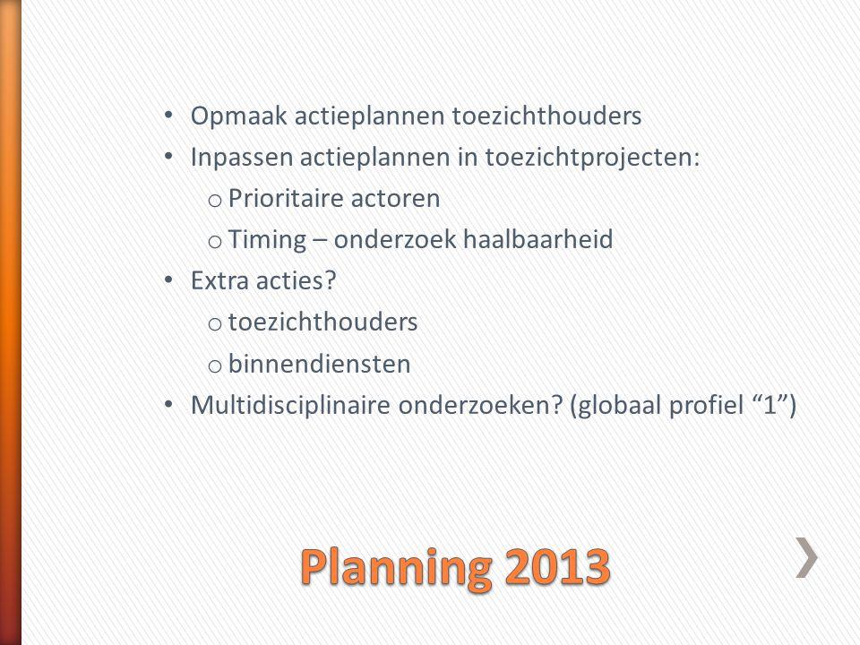 Planning 2013 Opmaak actieplannen toezichthouders
