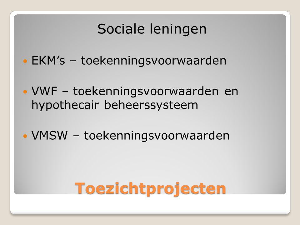 Toezichtprojecten Sociale leningen EKM's – toekenningsvoorwaarden