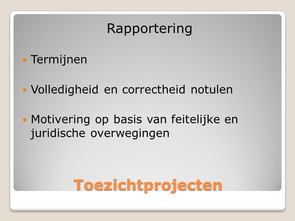 Toezichtprojecten Rapportering Termijnen