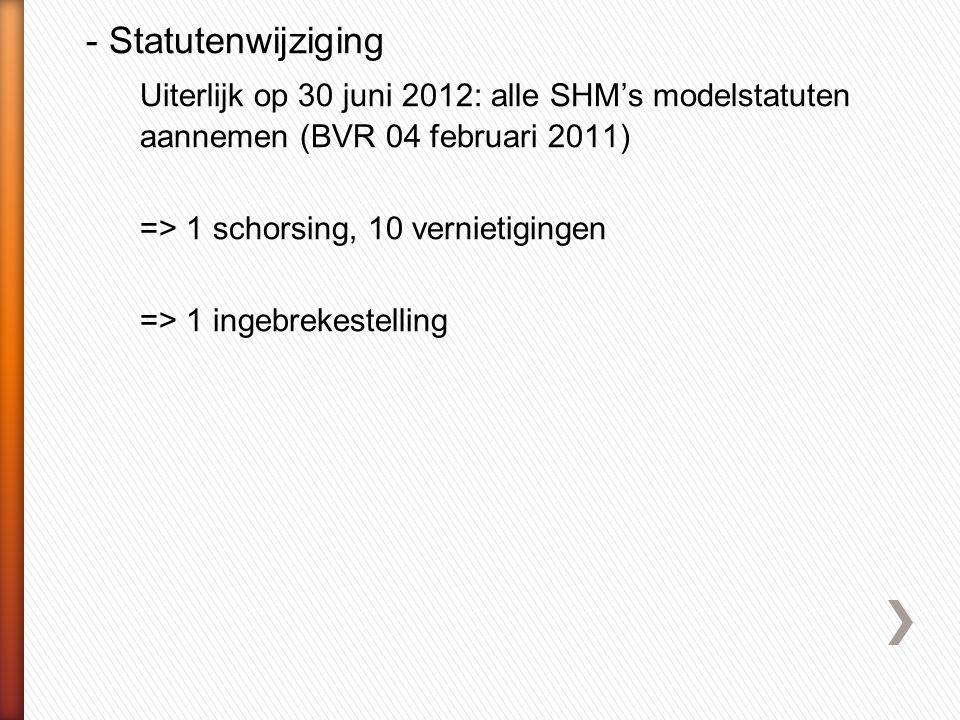 - Statutenwijziging Uiterlijk op 30 juni 2012: alle SHM's modelstatuten aannemen (BVR 04 februari 2011)